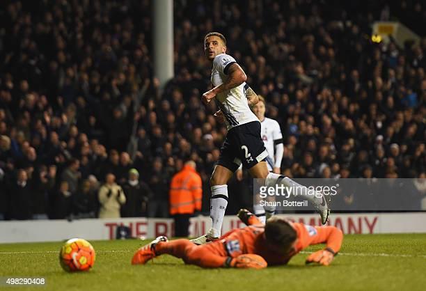 Kyle Walker of Tottenham Hotspur turns away after scoring his teams fourth goal during the Barclays Premier League match between Tottenham Hotspur...