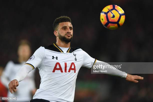 Kyle Walker of Tottenham in action during the Premier League match between Liverpool and Tottenham Hotspur at Anfield on February 11 2017 in...
