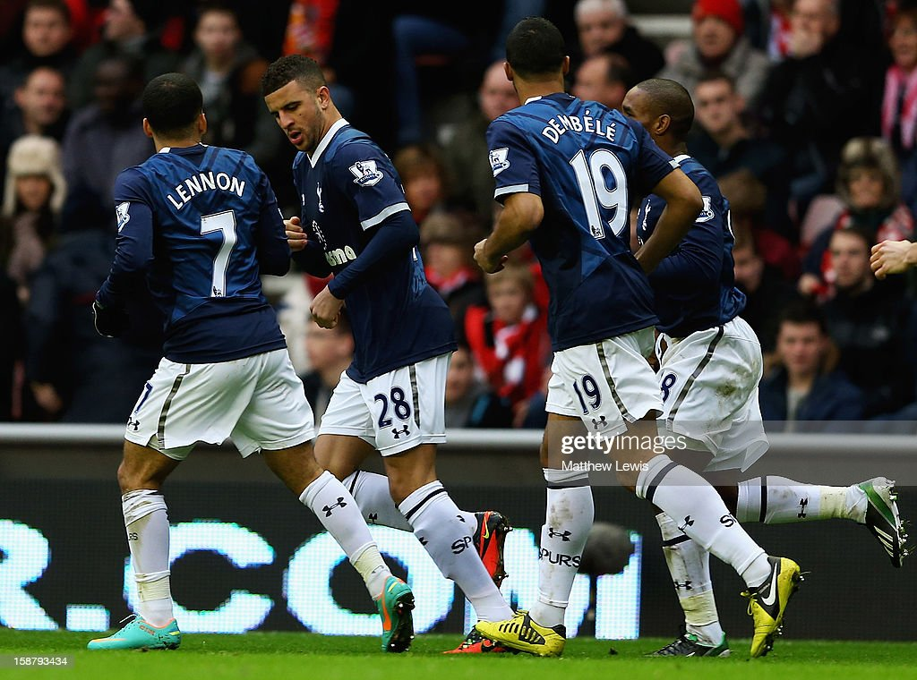 Kyle Walker (no.28) of Tottenham is congratulated on his goal during the Barclays Premier League match between Sunderland and Tottenham Hotspur at Stadium of Light on December 29, 2012 in Sunderland, England.