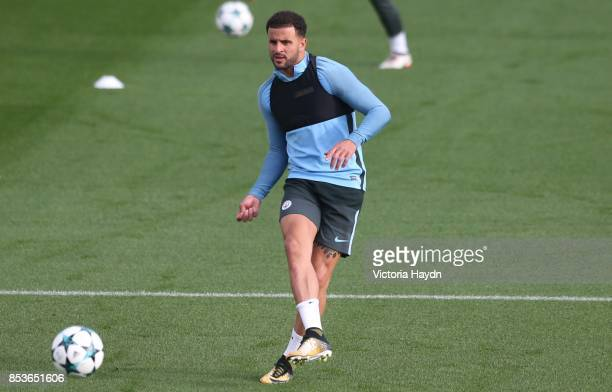 Kyle Walker passes the ball during the Manchester City training session on September 25 2017 in Manchester England