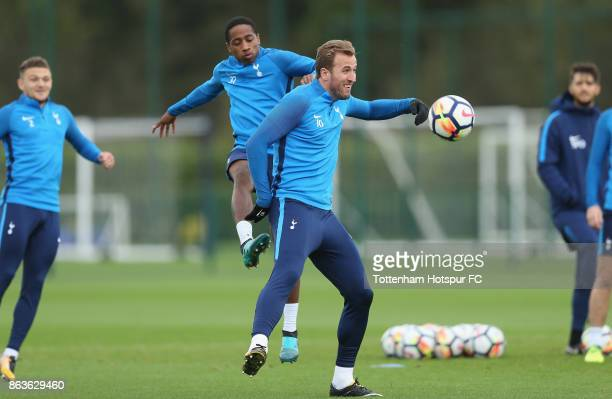 Kyle WalkerPeters and Harry Kane of Tottenham during the Tottenham Hotspur training session at Tottenham Hotspur Training Centre on October 20 2017...