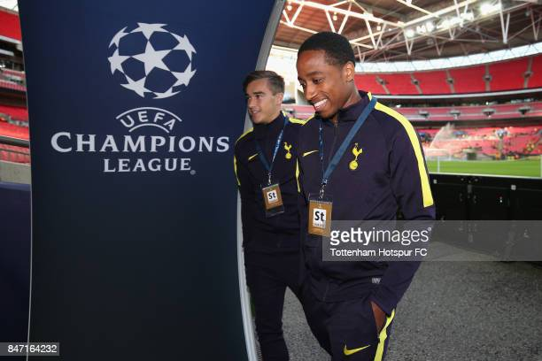 Kyle WalkerPeters and Harry Winks of Tottenham arrive prior to the UEFA Champions League group H match between Tottenham Hotspur and Borussia...