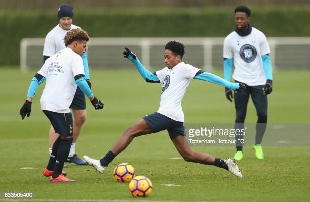 Kyle WalkerPeters and Marcus Edwards of Tottenham during the Tottenham Hotspur training session at Tottenham Hotspur Training Centre on February 2...