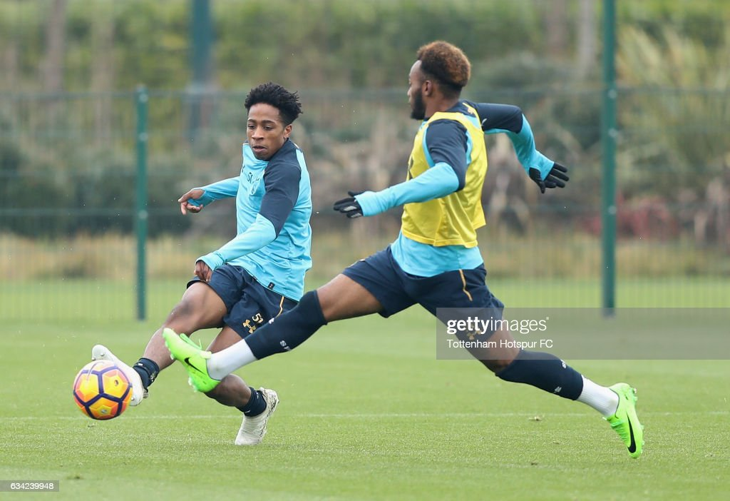 Kyle Walker-Peters battles with Georges-Kevin Nkoudou during the Tottenham Hotspur Training Session on February 8, 2017 in Enfield, England.