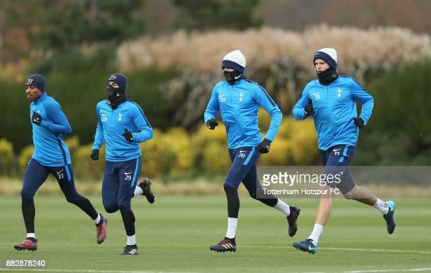 Kyle WalkerPeters Harry Winks Dele Alli and Eric Dier of Tottenham during the Tottenham Hotspur training session at Tottenham Hotspur Training Centre...