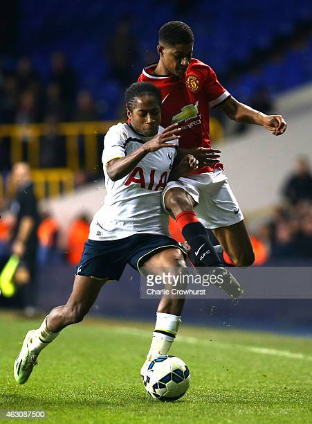 Kyle WalkerPeters of Tottenham holds off Marcus Rashford of Man United during the FA Youth Cup Fifth Round match between Tottenham Hotspur and...