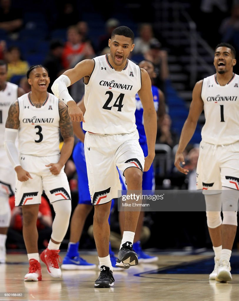 Kyle Washington #24 of the Cincinnati Bearcats reacts to a play during a semifinal game of the 2018 AAC Basketball Championship against the Memphis Tigers at Amway Center on March 10, 2018 in Orlando, Florida.