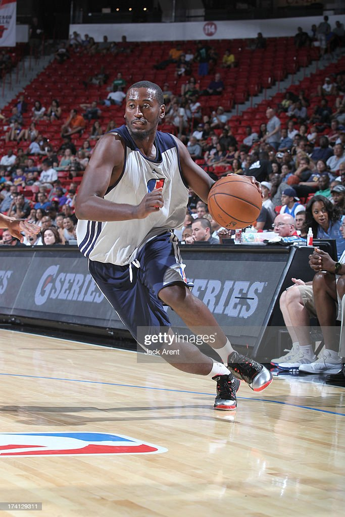 Kyle  Weaver #5 of the D-League Select Team drives up court during NBA Summer League game between the D League Select and the Charlotte Bobcats on July 20, 2013 at the Thomas and Mack Center Center in Las Vegas, Nevada.