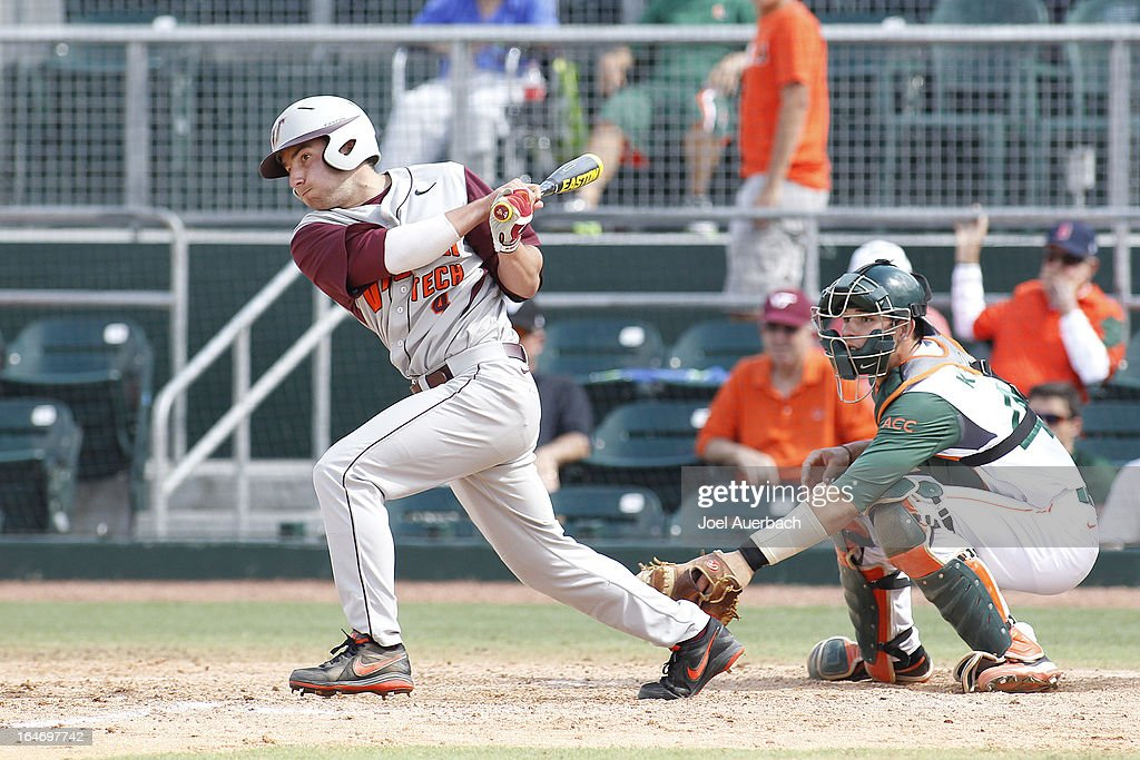 Kyle Wernicki #4 of the Virginia Tech Hokies bats against the Miami Hurricanes in the ninth inning on March 24, 2013 at Alex Rodriguez Park at Mark Light Field in Coral Gables, Florida. Virginia Tech defeated Miami 8-5 in 10 innings.