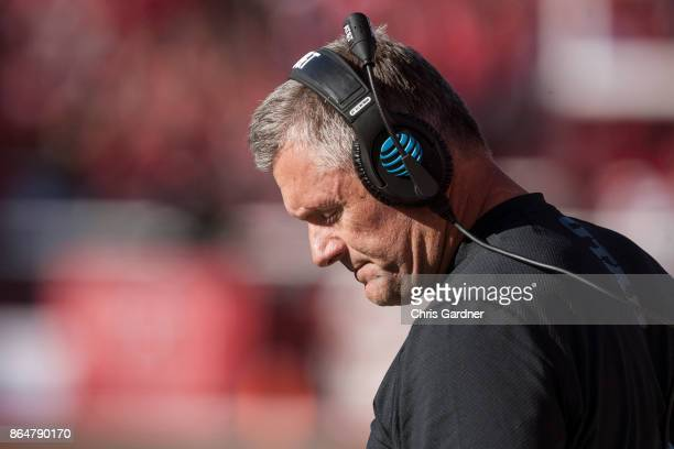 Kyle Whittingham head coach of he Utah Utes reacts on the sideline during the second half of the Utes 3010 loss to the Arizona State Sun Devils at...