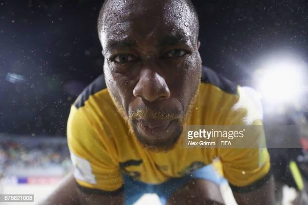 Kyle Williams of Bahamas celebrates a goal during the FIFA Beach Soccer World Cup Bahamas 2017 group A match between Bahamas and Ecuador at National...