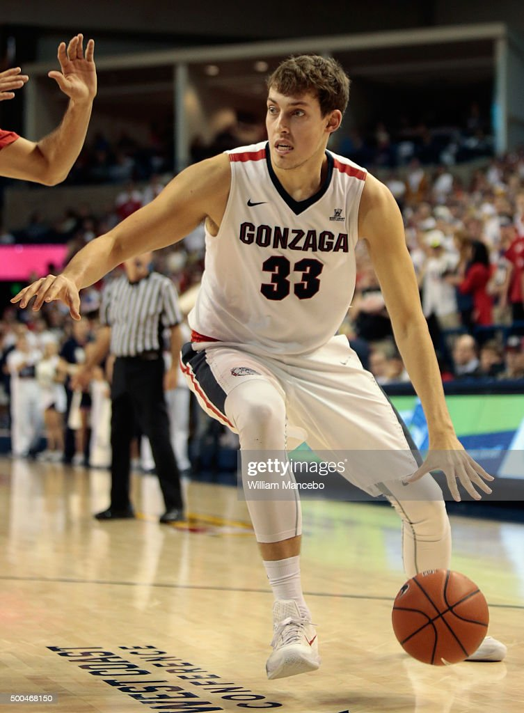 <a gi-track='captionPersonalityLinkClicked' href=/galleries/search?phrase=Kyle+Wiltjer&family=editorial&specificpeople=7621176 ng-click='$event.stopPropagation()'>Kyle Wiltjer</a> #33 of the Gonzaga Bulldogs controls the ball against the Arizona Wildcats during the game at McCarthey Athletic Center on December 5, 2015 in Spokane, Washington. Arizona defeated Gonzaga 68-63.