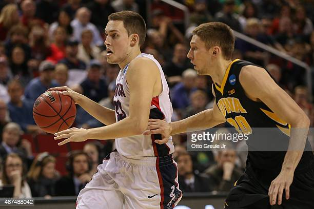 Kyle Wiltjer of the Gonzaga Bulldogs in action against Jarrod Uthoff of the Iowa Hawkeyes during the third round of the 2015 Men's NCAA Basketball...