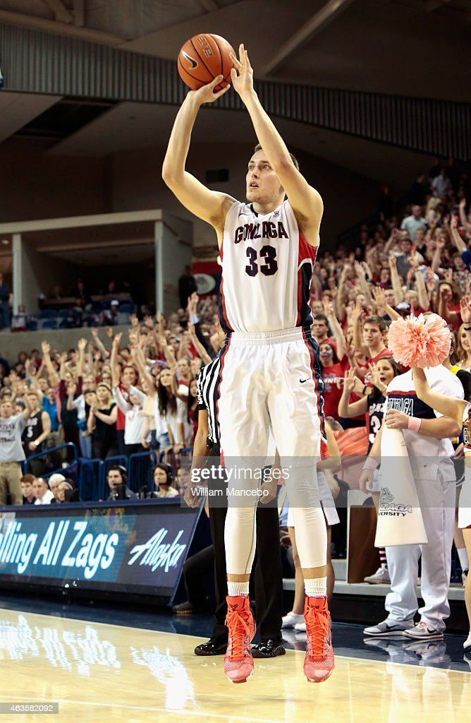 Kyle Wiltjer #33 of the Gonzaga Bulldogs puts up a three pointer against the Pepperdine Waves in the second half at McCarthey Athletic Center on February 14, 2015 in Spokane, Washington. Gonzaga defeated Pepperdine 56-48.