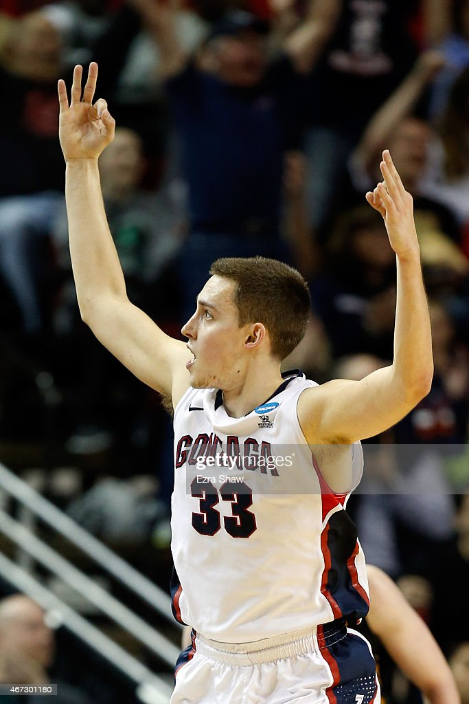 <a gi-track='captionPersonalityLinkClicked' href=/galleries/search?phrase=Kyle+Wiltjer&family=editorial&specificpeople=7621176 ng-click='$event.stopPropagation()'>Kyle Wiltjer</a> #33 of the Gonzaga Bulldogs reacts after a three pointer in the second half of the game against the Iowa Hawkeyes during the third round of the 2015 NCAA Men's Basketball Tournament at KeyArena on March 22, 2015 in Seattle, Washington.