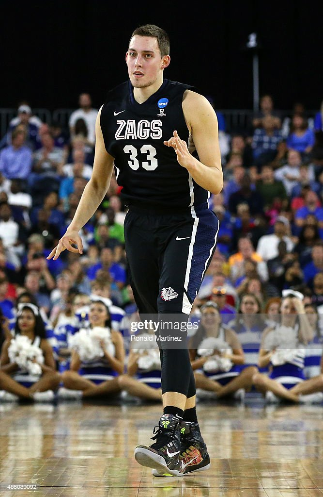 <a gi-track='captionPersonalityLinkClicked' href=/galleries/search?phrase=Kyle+Wiltjer&family=editorial&specificpeople=7621176 ng-click='$event.stopPropagation()'>Kyle Wiltjer</a> #33 of the Gonzaga Bulldogs reacts after hitting a shot against the Duke Blue Devils during the South Regional Final of the 2015 NCAA Men's Basketball Tournament at NRG Stadium on March 29, 2015 in Houston, Texas.