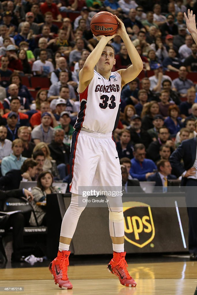 Kyle Wiltjer #33 of the Gonzaga Bulldogs shoots against the North Dakota State Bisons during the second round of the 2015 Men's NCAA Basketball Tournament at Key Arena on March 20, 2015 in Seattle, Washington.