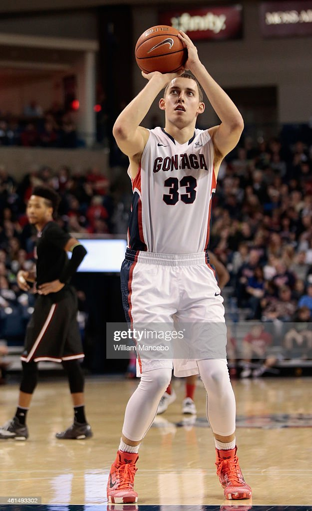 Kyle Wiltjer #33 of the Gonzaga Bulldogs takes a free throw against the Santa Clara Broncos in the game at McCarthey Athletic Center on January 10, 2015 in Spokane, Washington. Gonzaga defeated Santa Clara 79-57.