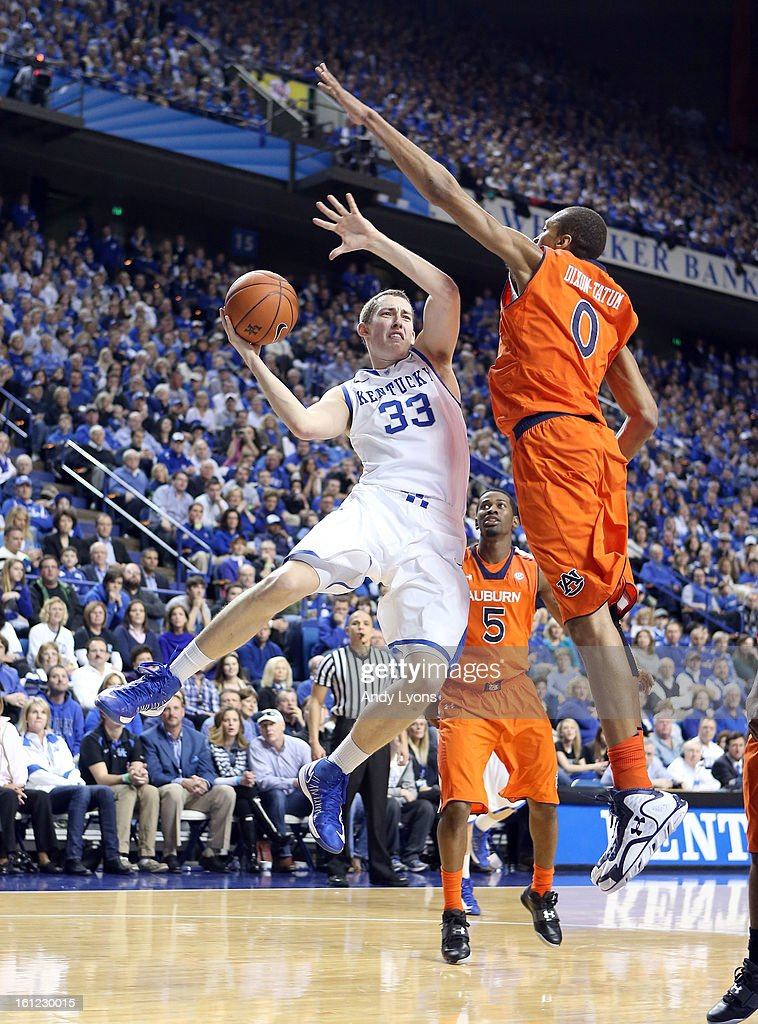Kyle Wiltjer #33 of the Kentucky Wildcats passes the ball during the game against the Auburn Tigers at Rupp Arena on February 9, 2013 in Lexington, Kentucky.
