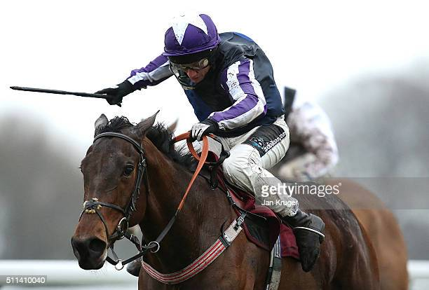 Kylemore Lough ridden by Jamie Moore wins the Betfred ÒDouble DelightÓ NovicesÕ Limited Handicap Steeple Chase at Haydock racecourse on February 20...