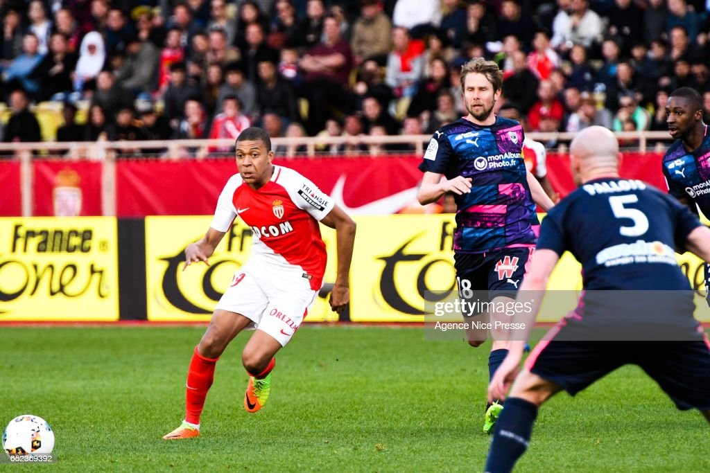 Kylian Mbappé of Monaco during the Ligue 1 match between As Monaco and Girondins Bordeaux at Louis II Stadium on March 11, 2017 in Monaco, Monaco.