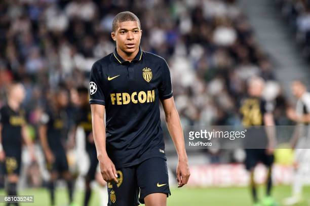 Kylian Mbapp of Monaco during the UEFA Champions League SemiFinal game 2 match between Juventus and Monaco at the Juventus Stadium Turin Italy on 9...