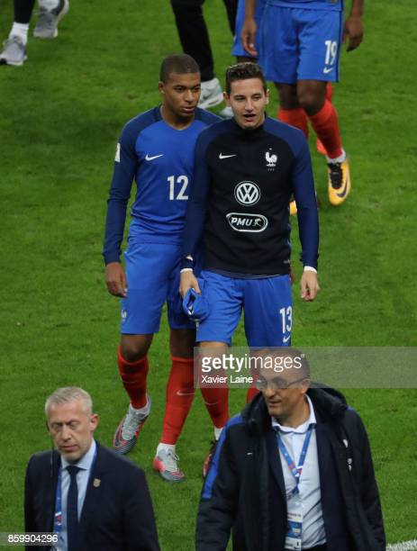 Kylian Mbappe and Florian Thauvin of France celebrate the qualification after the FIFA 2018 World Cup Qualifier between France and Netherlands at...
