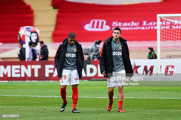 Kylian Mbappe and Guido Carrillo of Monaco during the French Ligue 1 match between Monaco and Lorient at Louis II Stadium on January 22 2017 in...
