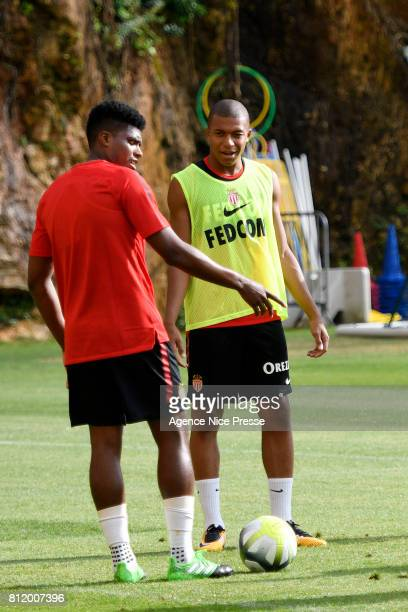 Kylian Mbappe and Jemerson of Monaco during training session of As Monaco on July 10 2017 in Monaco Monaco