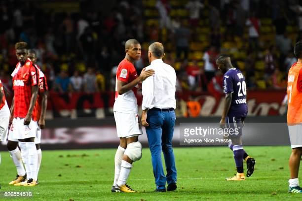 Kylian Mbappe and Leonardo Jardim head coach of Monaco during the Ligue 1 match between AS Monaco and Toulouse at Stade Louis II on August 4 2017 in...