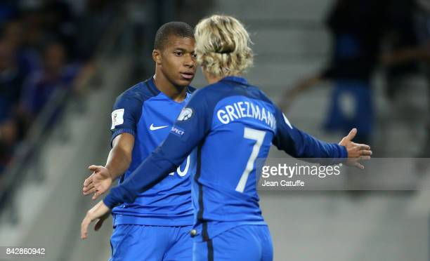 Kylian Mbappe Antoine Griezmann of France during the FIFA 2018 World Cup Qualifier between France and Luxembourg at the Stadium on September 3 2017...