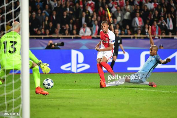 Kylian Mbappe Lottin of Monaco scores but the goal is disallowed for offside during the Uefa Champions League match between As Monaco and Manchester...