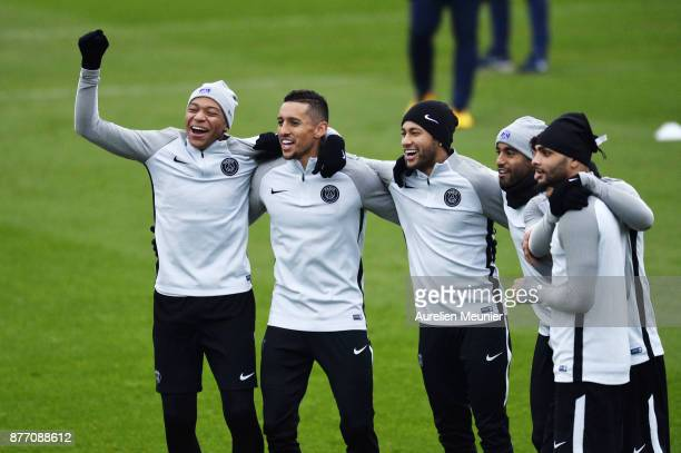 Kylian Mbappe Marquinhos Neymar Jr Lucas and Layvin Kurzawa react during a Paris SaintGermain training session at Centre Ooredoo on November 21 2017...
