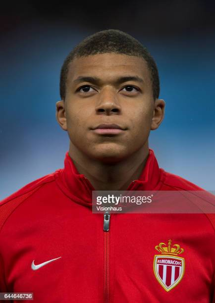 Kylian Mbappe of AS Monaco before the UEFA Champions League Round of 16 first leg match between Manchester City FC and AS Monaco at Etihad Stadium on...