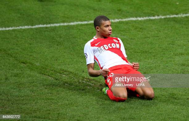 Kylian Mbappe of AS Monaco celebrates after scoring their second goal during the UEFA Champions League Round of 16 first leg match between Manchester...