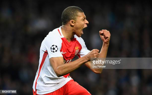 Kylian Mbappe of AS Monaco celebrates as he scores their second goal during the UEFA Champions League Round of 16 first leg match between Manchester...