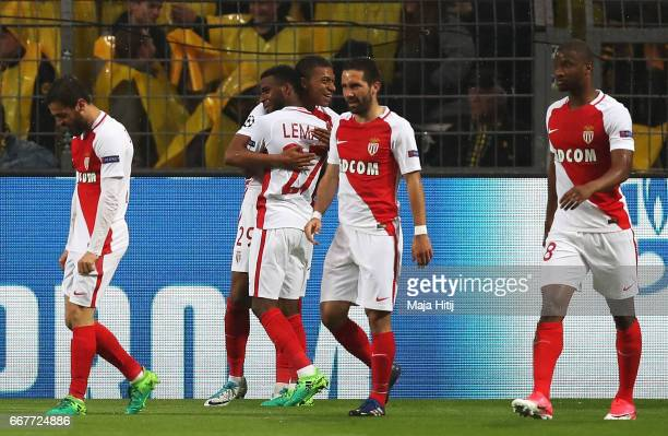 Kylian Mbappe of AS Monaco celebrates scoring the opening goal with Thomas Lemar during the UEFA Champions League Quarter Final first leg match...