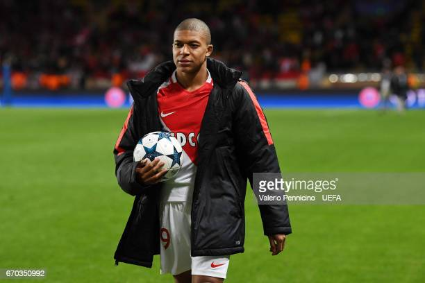 Kylian Mbappe of AS Monaco celebrates victory at the end of the UEFA Champions League Quarter Final second leg match between AS Monaco and Borussia...