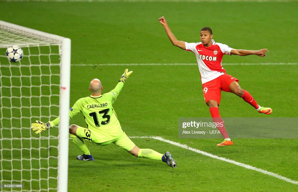 Kylian Mbappe of AS Monaco dscores their second during the UEFA Champions League Round of 16 first leg match between Manchester City FC and AS Monaco at Etihad Stadium on February 21, 2017 in Manchester, United Kingdom.