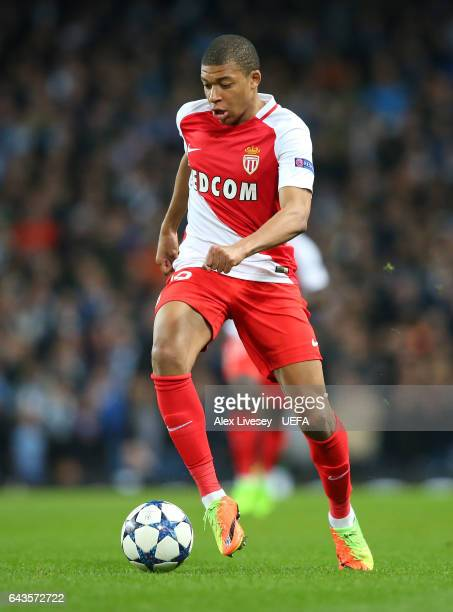 Kylian Mbappe of AS Monaco during the UEFA Champions League Round of 16 first leg match between Manchester City FC and AS Monaco at Etihad Stadium on...