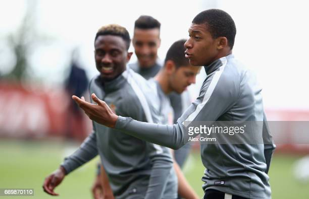 Kylian Mbappe of AS Monaco gestures during the AS Monaco training session at the La Turbie training centre on April 18 2017 in Monaco Monaco