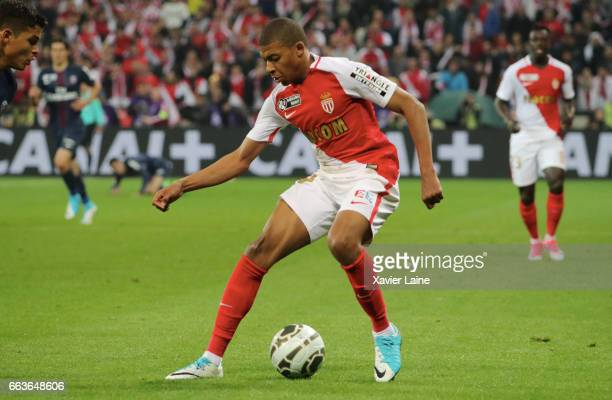 Kylian Mbappe of AS Monaco in action during the French League Cup Final match between Paris SaintGermain and AS Monaco at Parc Olympique on Japril 01...