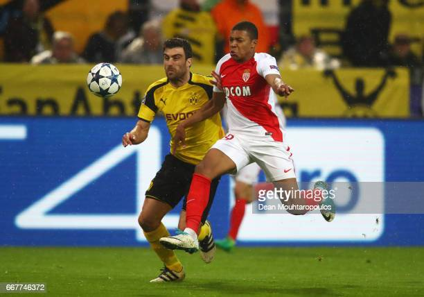 Kylian Mbappe of AS Monaco is fouled by Sokratis Papastathopoulos of Borussia Dortmund in the penalty area during the UEFA Champions League Quarter...