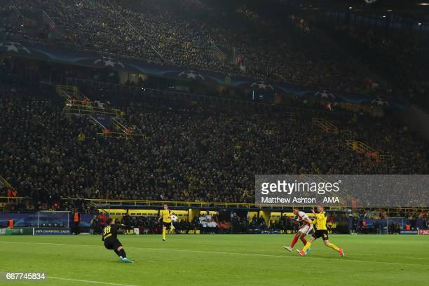 Kylian Mbappe of AS Monaco scores a goal to make it 13 during the UEFA Champions League Quarter Final first leg match between Borussia Dortmund and...