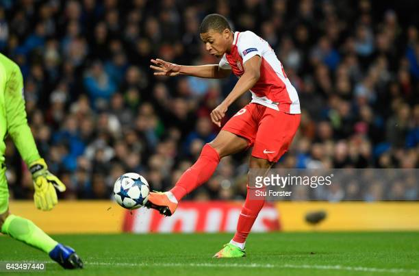 Kylian Mbappe of AS Monaco scores their second goal during the UEFA Champions League Round of 16 first leg match between Manchester City FC and AS...
