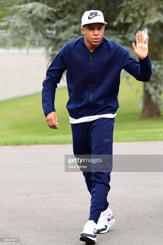 Kylian Mbappe of France arriving at Centre National du Football on March 20, 2017 in Clairefontaine, France.