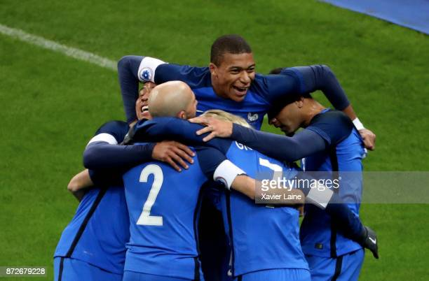 Kylian Mbappe of France celebrate a goal of Antoine Griezmann and teammattes during the friendly match between France and Wales at Stade de France on...