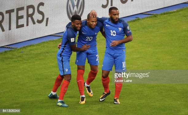 Kylian Mbappe of France celebrate is goal with Thomas Lemar and Alexandre Lacazette during the FIFA 2018 World Cup Qualifier between France and...