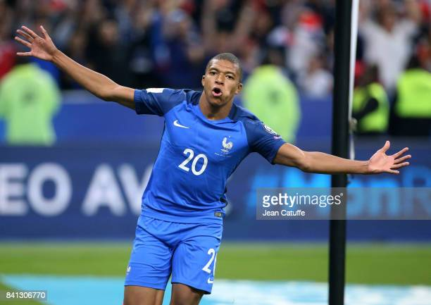 Kylian Mbappe of France celebrates his goal during the FIFA 2018 World Cup Qualifier between France and the Netherlands at Stade de France on August...