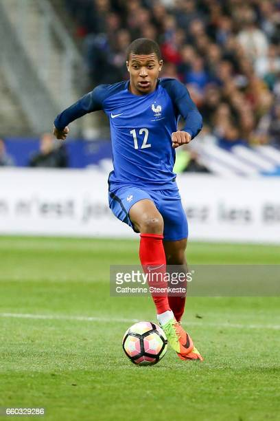 Kylian MBappe of France controls the ball during the International Friendly game between France and Spain at Stade de France on March 28 2017 in...